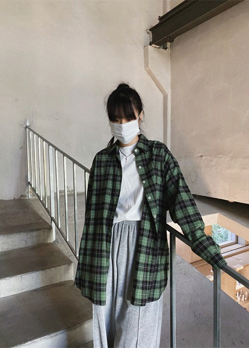 Oversized Check Shirt(2color)