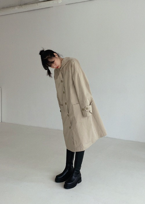 Single Breasted Hooded Trench Coat