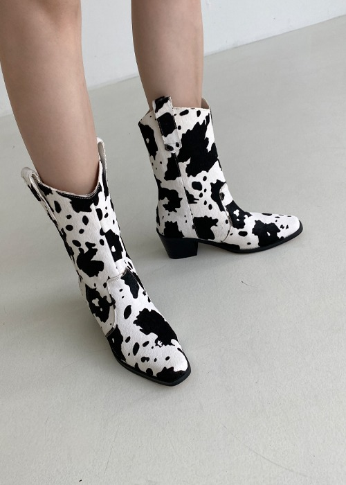 Cow Print Calf Hair Boots