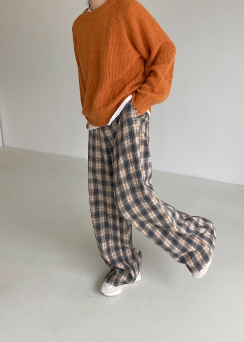 Wool Blend Check Pants(3color)