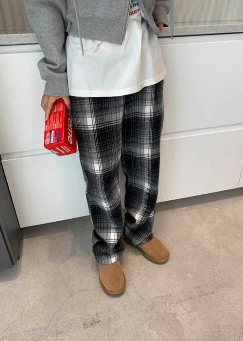 Black Elastic Waist Plaid Pants
