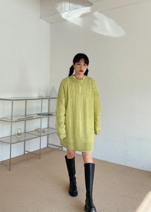 Round Neck Long Knit Sweater(3color)