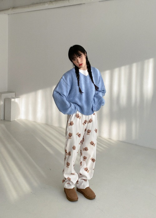 Bear Print Fleece Pants(2color)