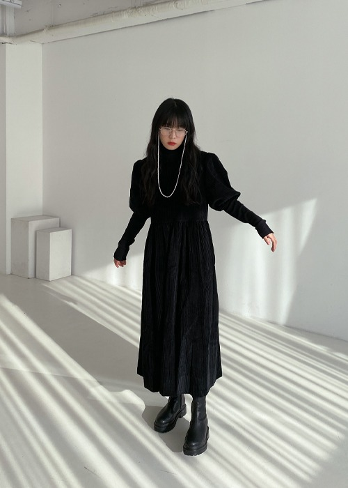 Black Corduroy Puff Sleeve Dress