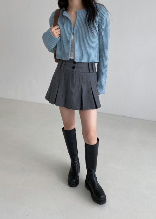 Wool Two Button Pleated Skirt(2color)