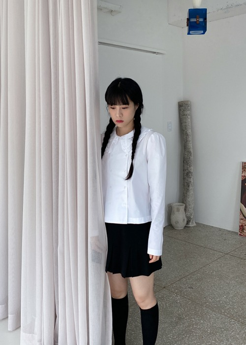 Ruffle Collar Double Blouse(2color)