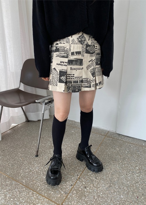 Newspaper Pleated Skirt(2color)
