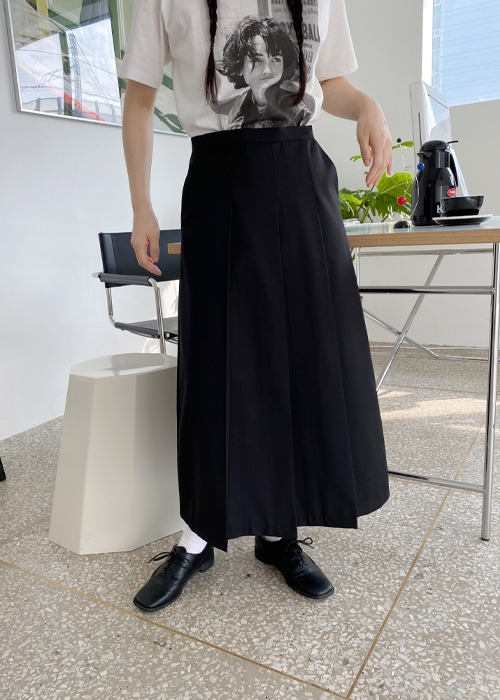 Black Front Pleated Long Skirt