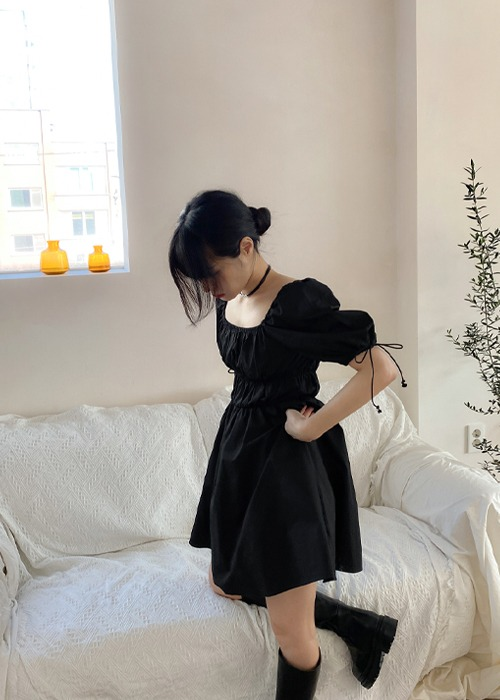 Ribbon Puff Smoke Mini Dress(2color)