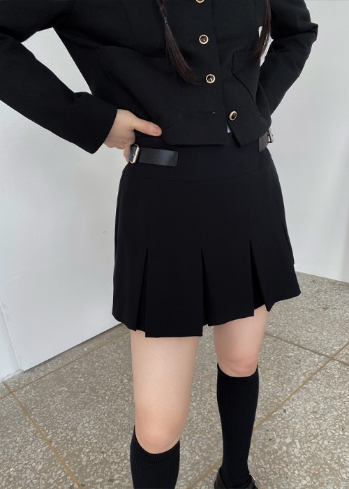Buckle Pleated Skirt(2color)