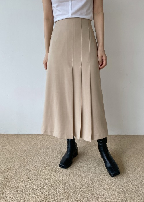 French Pleated Midi Skirt(2color)